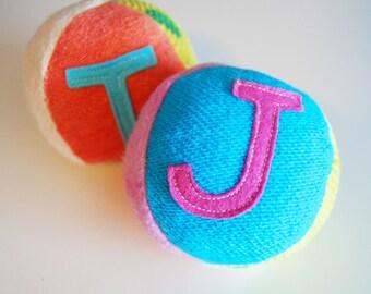 Custom Eco Organic BOY Personalized Initial Fabric Fun Ball Rainbow Pastel Montessori Play