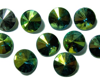 12mm Acrylic Rivoli faceted stones Green ABx2 color 10pcs