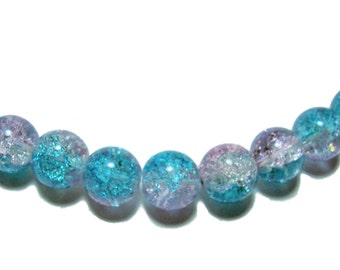 10mm Crackle glass round beads blue and pink 20 beads