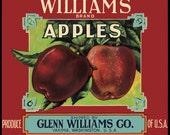 Williams Yakima Apple Fruit Crate Label redversion