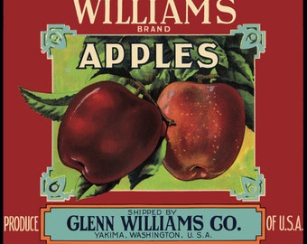 Williams Yakima Apple Fruit Crate Label redversion