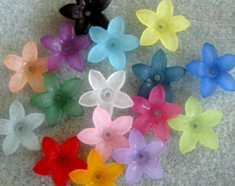 You Pick Colors Lucite Acrylic Star Flower Cap Bead Mix 17mm 424