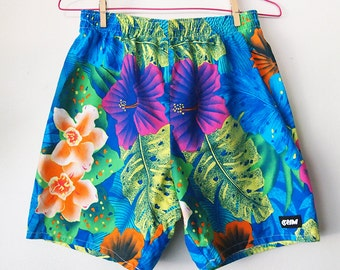 MAUI // Vintage 90s Hawaiian Shorts Colorful Neon Swimwear Elastic Waist 1990s Tropical Surfer Streetwear Mens XS - Small