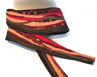 Guitar Strap- Frayed Jitterbug- Featuring Black Hemp and Tencel blend and Frayed Used fabrics