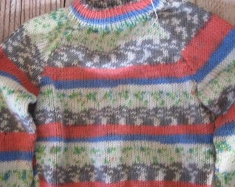 hand knit  sweater toddler size 1  - 2 - fair isle and stripe