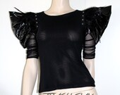 Gothic high fashion pvc feather Epaulettes Pointy high shoulders Mesh bodysuit top BURNING MAN festivals fetish GLAM Rock edgy