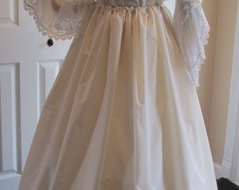 DDNJ Renaissance Cotton Embroidered Cotton Lace Ruffle Petti Hoop Cover Skirt Lolita Cosplay LARP Anime Steampunk Plus Custom Made ANY Size