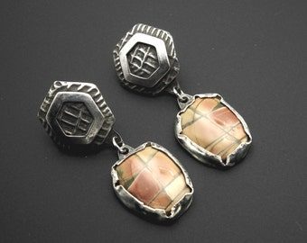 Earrings, silver, Picasso jasper stones, artisan, one of a kind, My Sunshine - Picasso Jasper Sterling Post Dangle Earrings