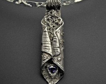 Pendant, silver, handmade, amethyst Czech, Designs by Suzyn Fine Silver Pendant with Amethyst CZ
