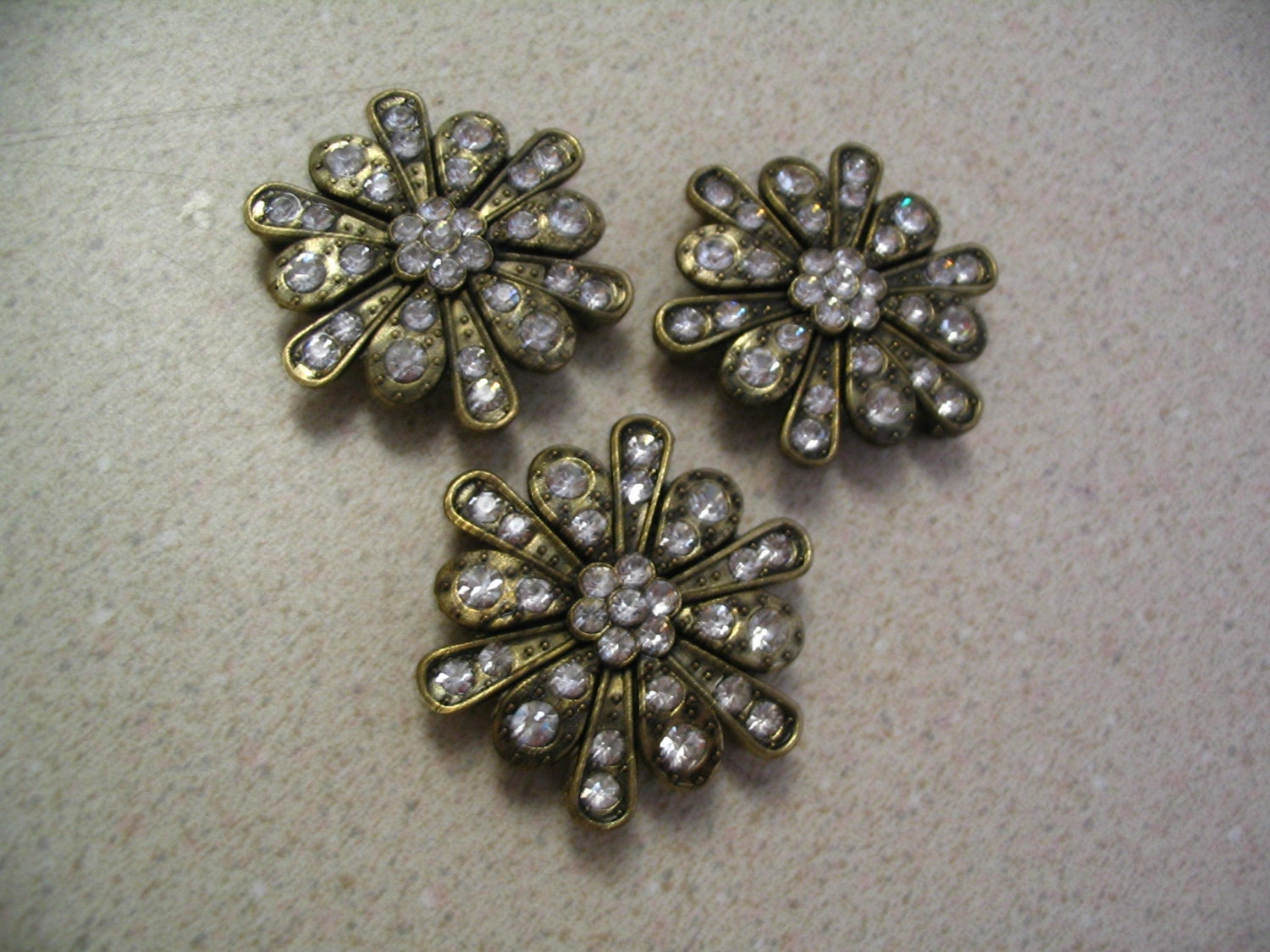 3 large rhinestone metal bead connectors by accentcreations