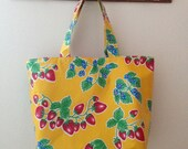 Beth's Big Yellow Strawberry Oilcloth Market Tote Bag