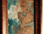 Patti P.A. Gibbons original Small Abstract Encaustic Painting Cerulean Blue Copper White Black BLOOM