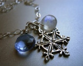 Snowflake  Necklace,  Winter Jewelry, Moonstone  Necklace, Tanzanite Quartz Necklace, Weather Jewelry, Snowflake charm,