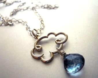 Cloud Necklace, Rain Necklace, Raindrop Necklace, Gemstone Necklace, Rain Cloud Charm Necklace with Blue Mystic Quartz