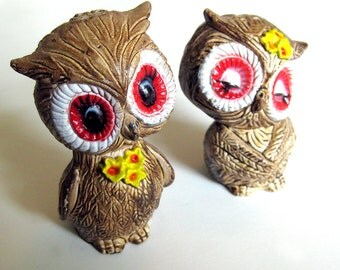 Vintage Owl Salt and Pepper Shakers In Box