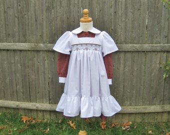 Toddler white smocked pinafore, red green plaid dress, girls size 3T, long sleeves, Christmas, heirloom, OOAK, ready to ship, handmade