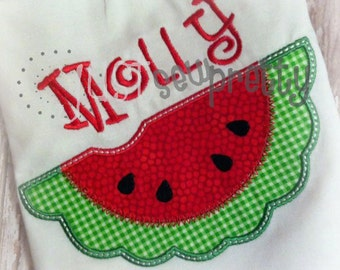 Summer Watermelon Slice Embroidery Applique Design