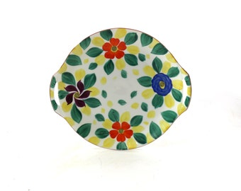 1940s Serving Platter | Handpainted Flowers | Czechoslovakia