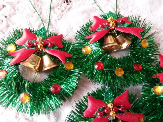 Mini tinsel wreath christmas ornaments gift package ties for Vintage christmas craft supplies