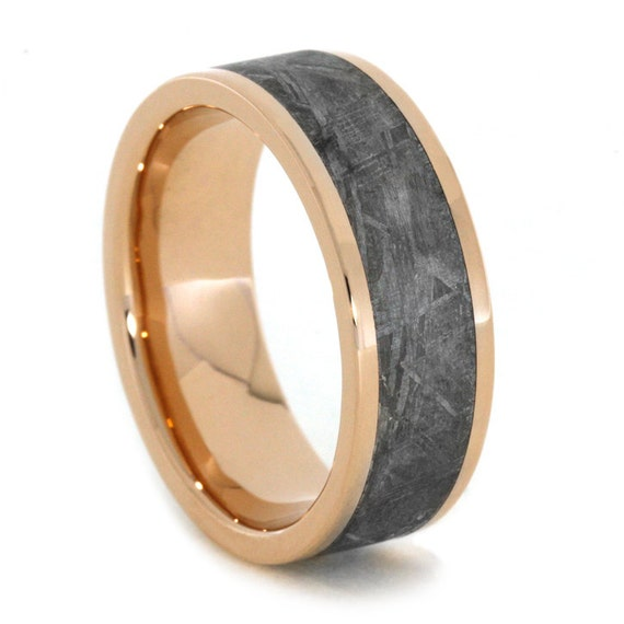 gibeon meteorite ring in 14k gold wedding by