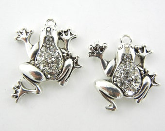 Pair of Silver-tone Rhinestone Frog Charms
