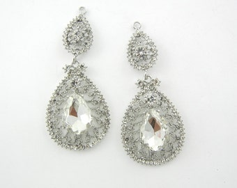 Pair of Crystal Filigree Teardrop Drop Charms