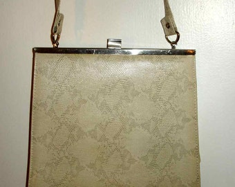 vintage lacy faux snake skin pattern flat compact clutch with long over the shoulder strap