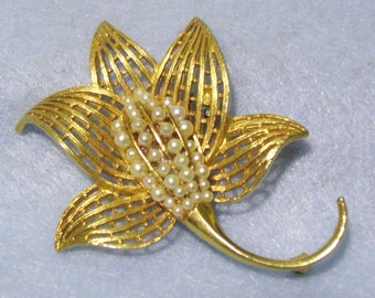 Corocraft Gold Plated Flower Brooch Pin Faux Pearls Designer Signed Vintage 60s