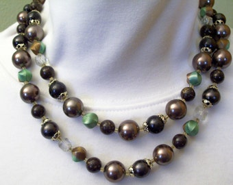 2 Strand Taupe Brown Turquoise Faceted Crystal Beads Necklace Japan Vintage 60s