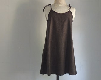 Boiled Wool Sun Dress - Pinafore - Tunic - Wool Cloth - Pinstripes  - Felted dress -
