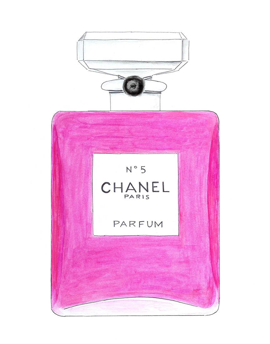chanel no5 perfume pink bottle watercolor fashion