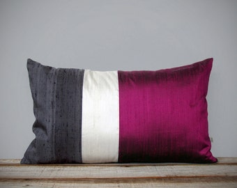 Silk Color Block Pillow Cover in Fuchsia, Cream + Charcoal Gray by JillianReneDecor | Luxury Gift for Her, Hot Pink Magenta (12x20 or 20x20)