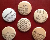 Vintage Dictionary MAGNETS Set of Six