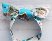 White - Sand - Turquoise Bermuda Beach Head Scarf / Hair Accessory / Neck Scarf / Handbag Adornment / Rockabilly Scarf / Gift Under 15