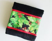 Christmas Holly Towel / Christmas Hand Towel / Green - Red - Black Holly / Black Terry Hand Towel / Kitchen Towel / Gift Under 15