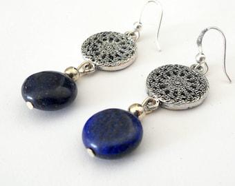 Lapis lazuli earrings, gemstone earrings,  blue stone silver link earrings, boho chic drop earrings, gypsy boho jewelry, lapis jewelry