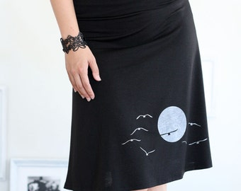 Beautiful Skirts for Women, Black knee length skirts, A-line jersey skirts, Graphic skirts plus size - The sunset and the flying birds