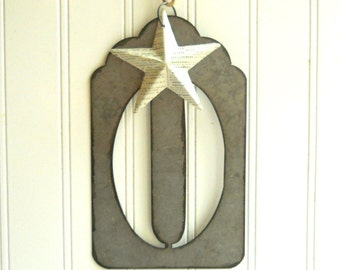 """Large metal zero stencil hanging with vintage French dictionary papered star Jumbo 5 1/2"""" tall font Cottage Chic"""