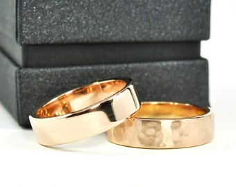 Rose Gold Wedding Band Set, 18K Gold Rings, Set of Two, 6mm Wide by 1.75mm Thick, Sea Babe Jewelry