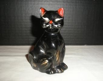 Vintage Black Cat Figurines Hand Painted