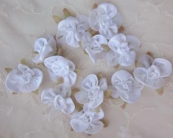 12pc Fabric WHITE w Leaf Satin Organza Ribbon Flower Applique Baby Doll
