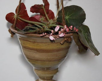 Ceramic  Hanging Planter in Stoneware about  Seven Inches Wide by Six 1/2 Inches Tall