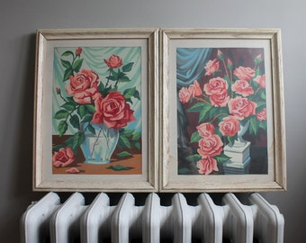 Pair of Vintage Paint by Number Framed Shabby Roses in Vases, Flower Art, Pink Fifties Decor