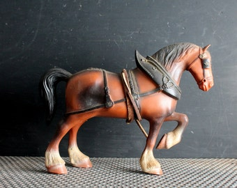 Vintage Celluloid Clydesdale Horse, Mid Century Toy