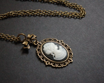 bronze tone regency lady cameo necklace