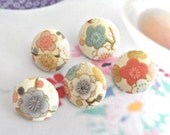 Fabric Buttons, Small Wedding Gold White Pink Purple Green Japanese Blossom Floral Fabric Covered Buttons, Flat Backs, 0.8 Inches 5's