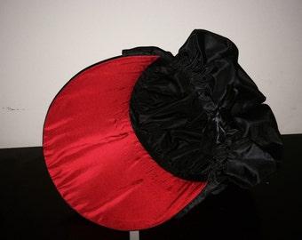 Black Silk Taffeta 18th Century Bonnet With Red Brim