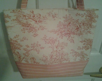 Large Pink and Cream Toile Bag