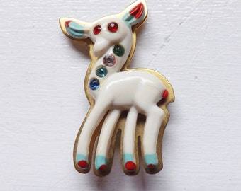 Vintage Christms brooch French celluloid rhinestone brooch reindeer brooch deer brooch hand painted brooch Art deco brooch brass brooch