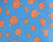 Vintage Fabric Yardage Supply Blue Orange Flowers Retro Duvet Cover